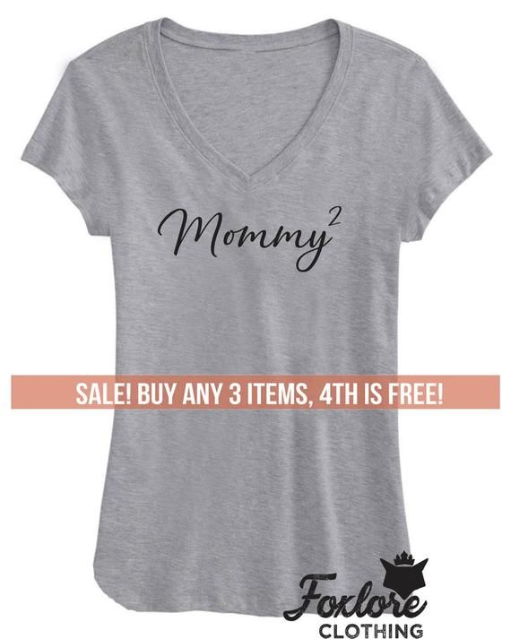 c500775d Mommy 2 V-Neck Shirt Tee T-Shirt Women Ladies Men Funny Birthday Gift For  Wife Top Mother's Day Moth