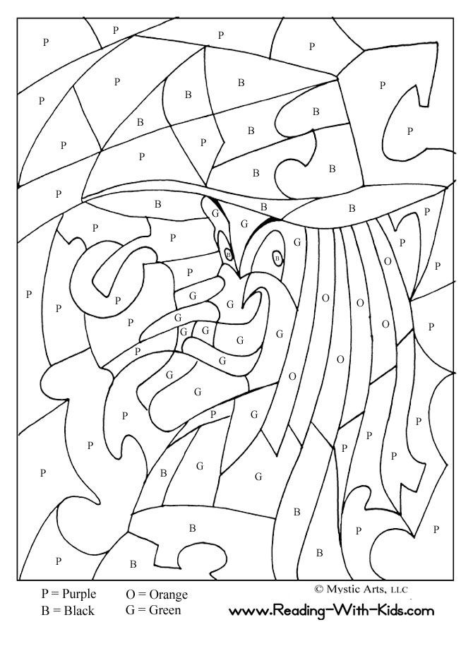 Halloween Color By Letter Witch Coloring Page And Dragon Pages