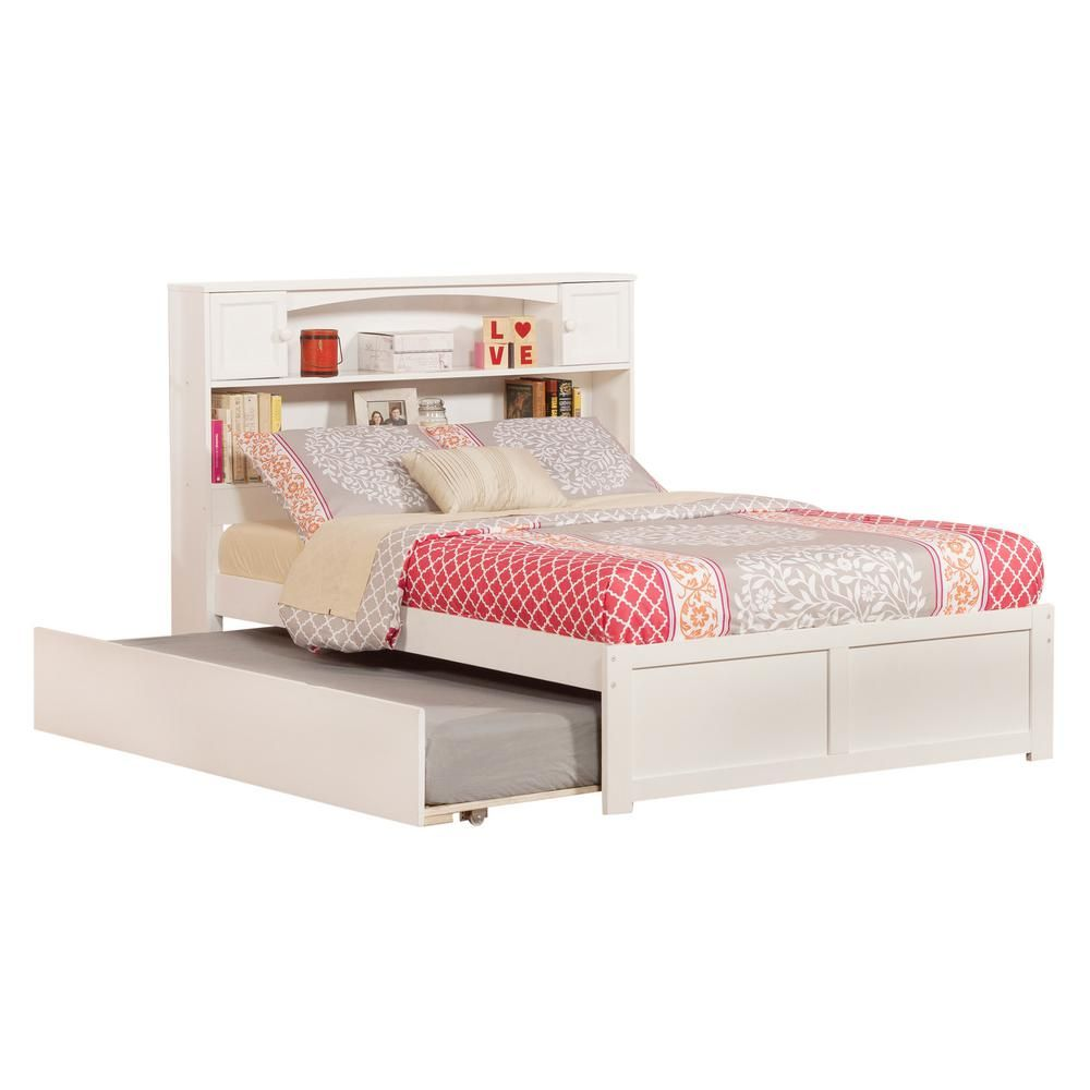 atlantic furniture newport white full platform bed with flat panel rh pinterest ca