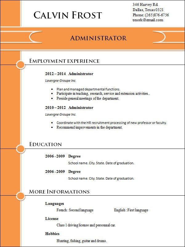 Professional Resume Templates Resume Templates Pinterest