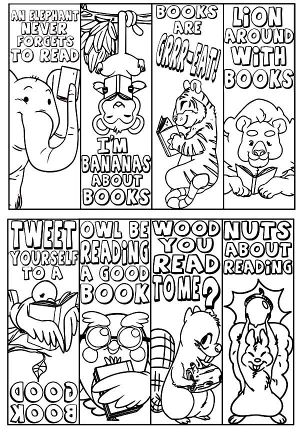 Animal Theme Bookmarks Coloring Pages