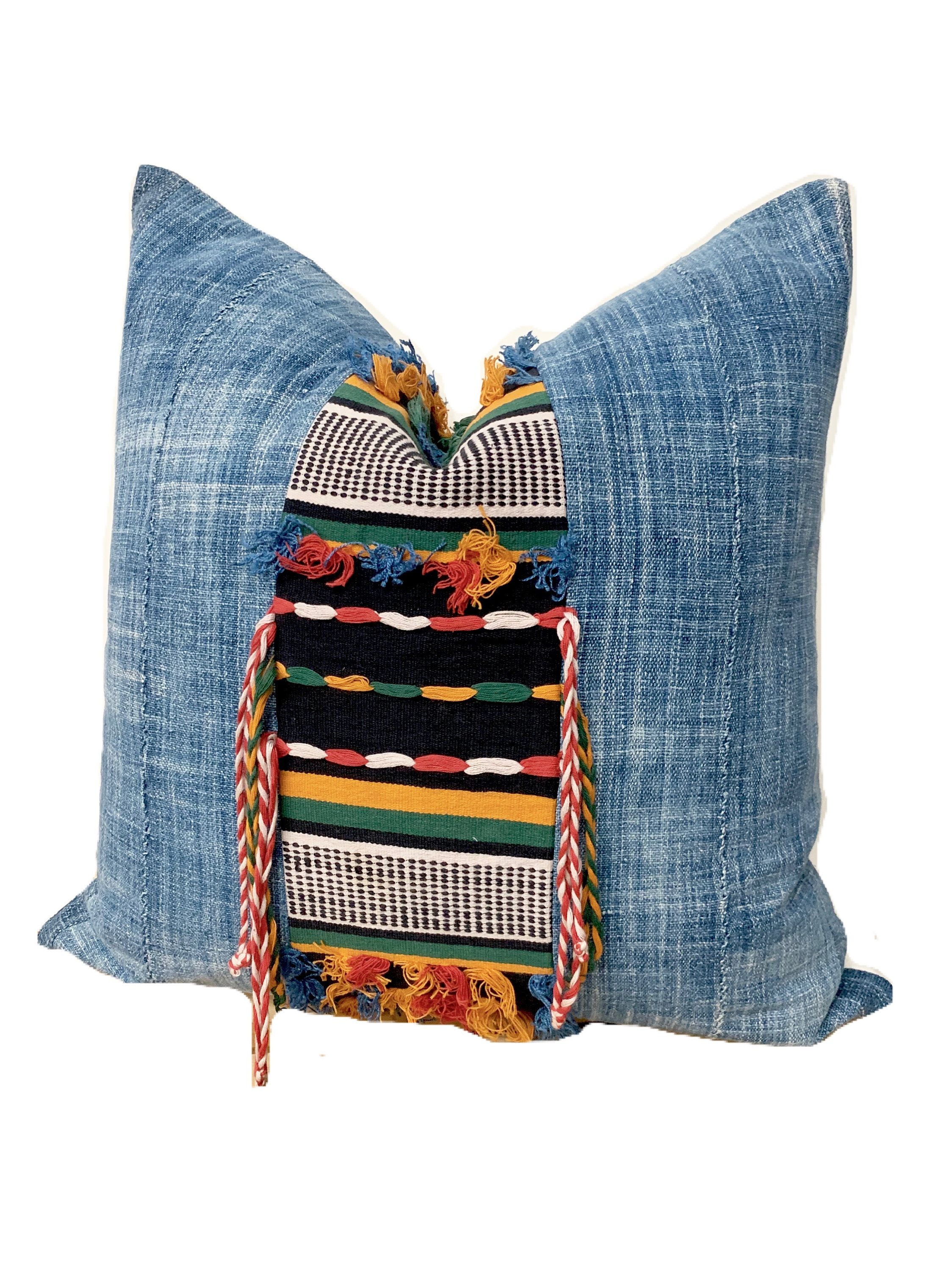 Mud Cloth Pillow Cover 24 inch square African Indigo Fulani   Etsy