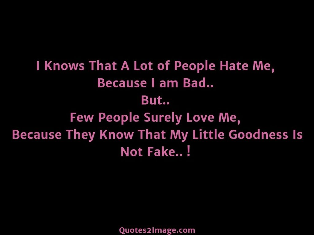 I Knows That A Lot Of People Hate Me Because I Am Bad But Few