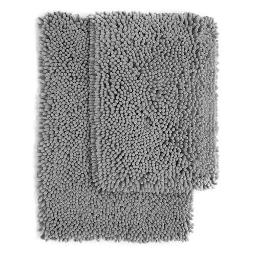 Set Of 2 Aspen High Plush Chenille Bath Rugs Grey 19 99 Trend