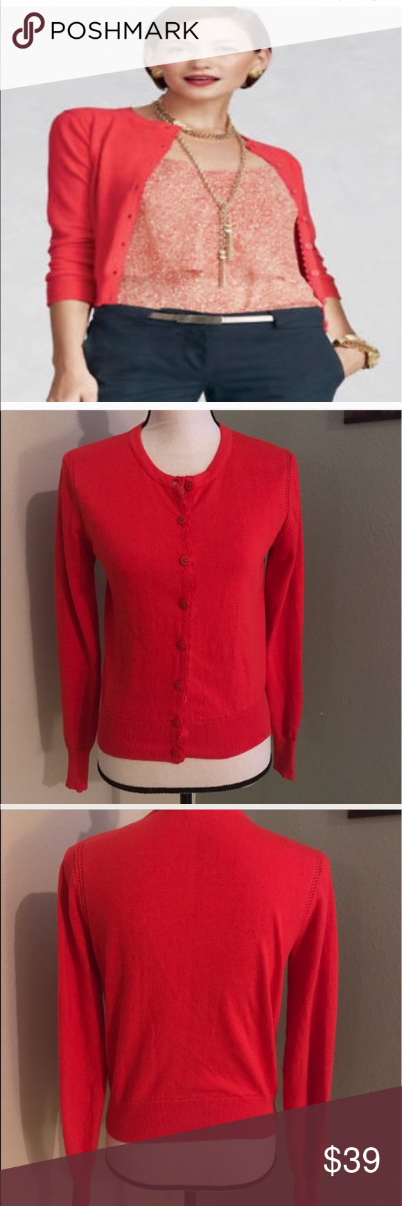 Cabi Coral red / orange cardigan | Orange cardigan