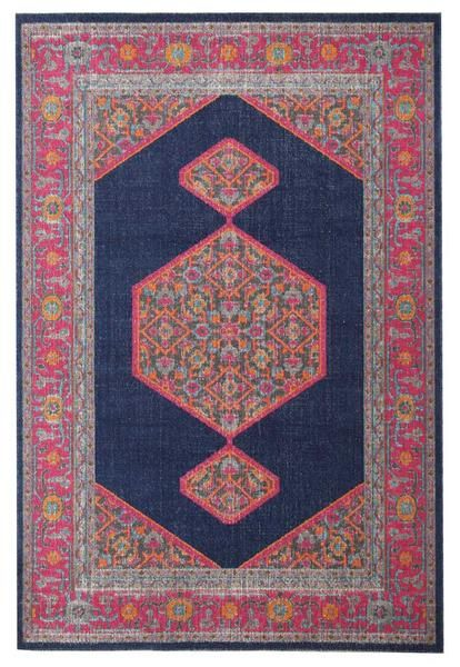 Menhit Navy Blue Multi Coloured Transitional Patterned Rug Navy Rug Modern Rugs Rugs