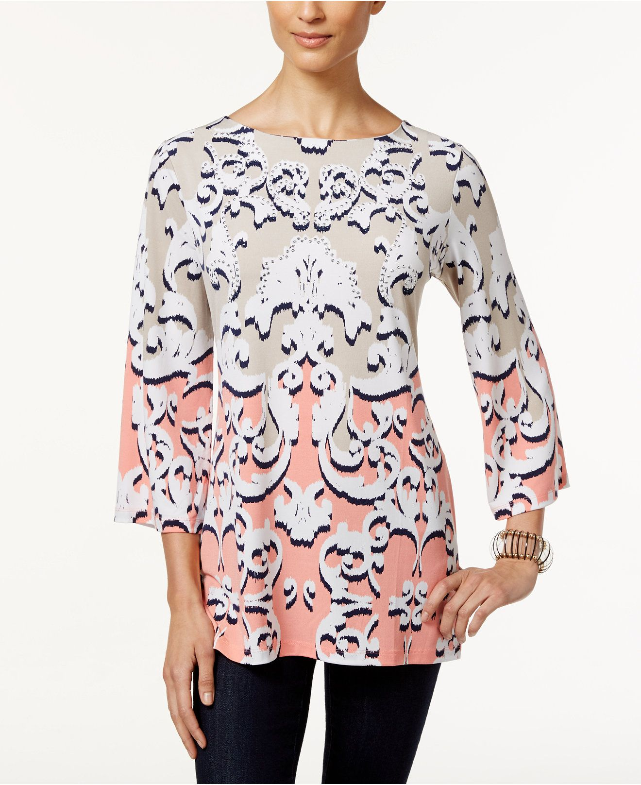 JM Collection Mixed-Print Rhinestone Tunic, Created for