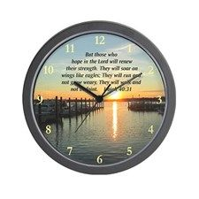 ISAIAH 40:31 Wall Clock Brighten up every one with one of our inspirational scripture and bible verse clocks. www.cafepress.com/heavenlyblessings #Scriptureclock #Bibleverseclock  #Bibleclocks #Scriptureverseclocks #Christianclocks