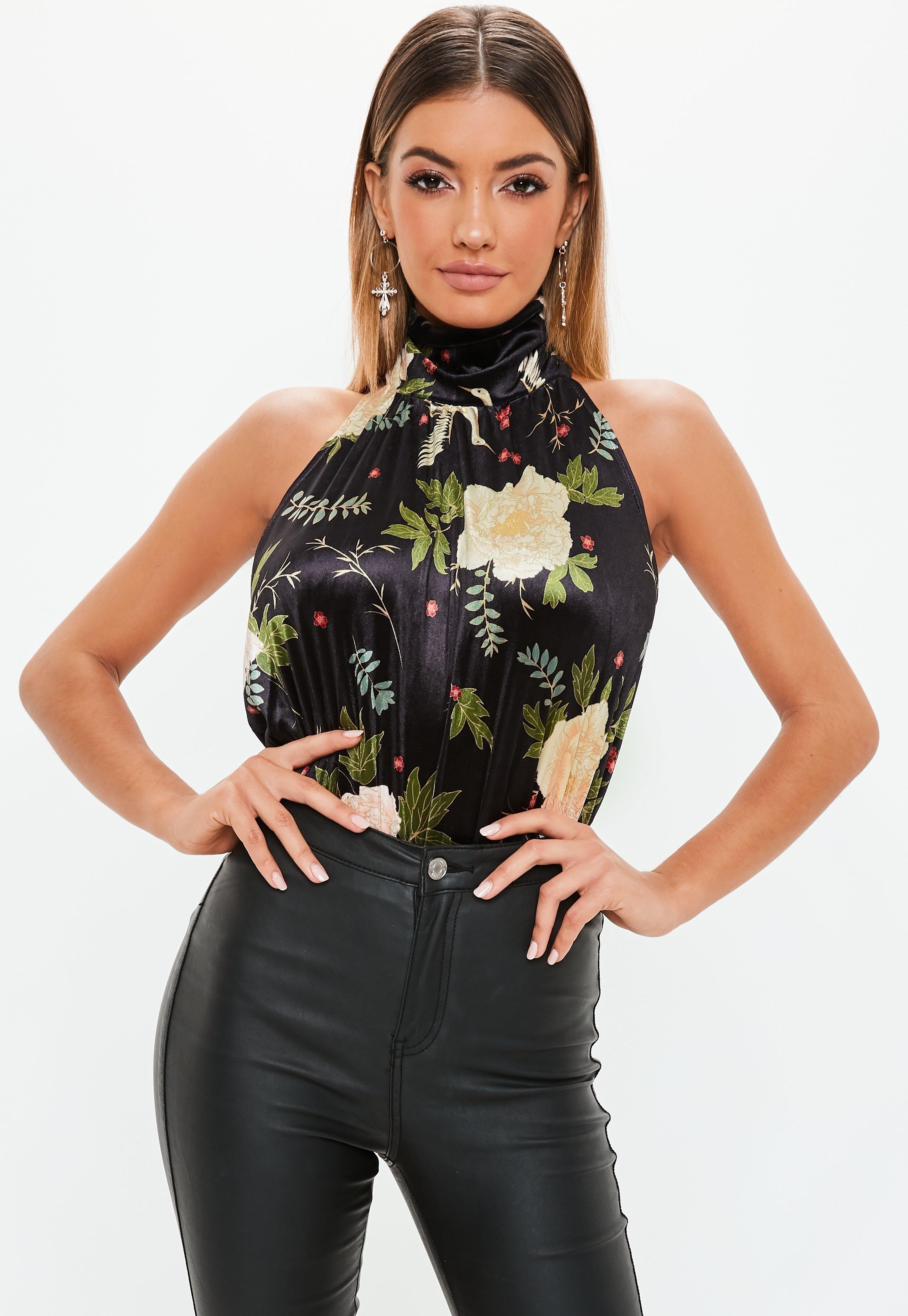 d4e960295f3 black-velvet-floral-backless-bodysuit | Women's Bodysuits in 2019 ...