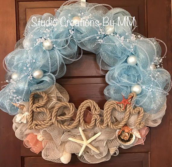 Do It Yourself Home Design: Very Pretty! Beach Wreath Ocean Wreath Summer Wreath Mesh