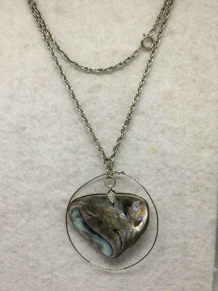 Iridescent Shell and Faux Branch Costume Jewelry Necklace