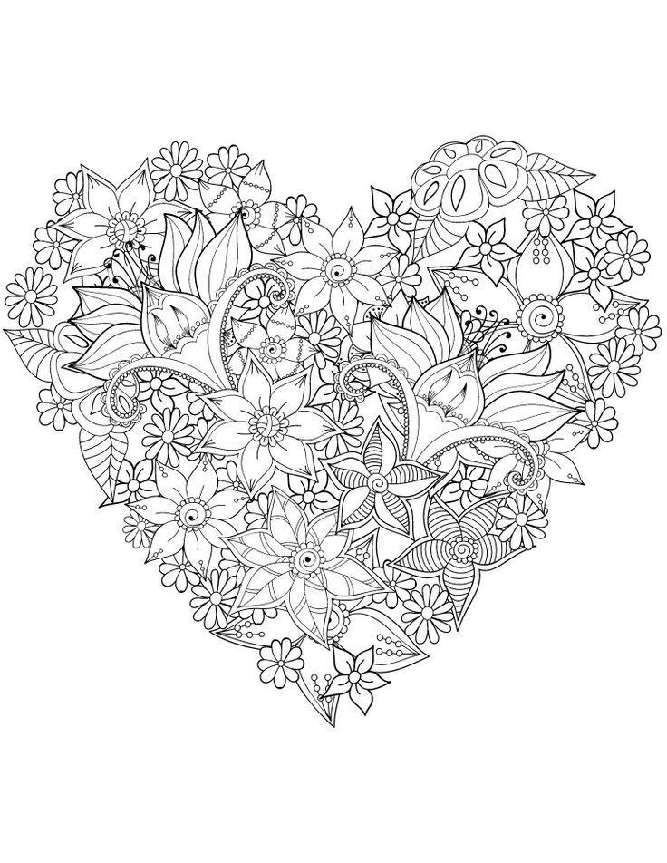 Herz Sehr Schwierig Blumen Farben St Valentin Valentines Blumen Farben Herz Blumenzeichnungen Malvorlagen Blumen Kostenlose Erwachsenen Malvorlagen