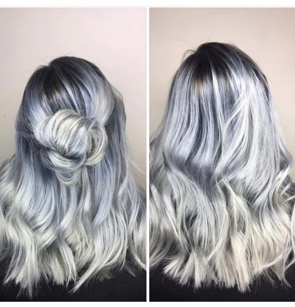 O P A L O N Y X Arizona Light Blue Hair Silver Hair Icy Hair Blueombrehair Light Blue Hair Silver Blue Hair Hair Highlights