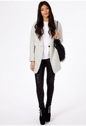Petera Tweed Boyfriend Coat With Faux Leather Trim - Coats