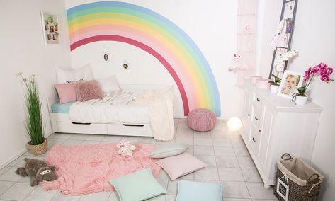 Wände streichen Regenbogen Kinderzimmer farbe