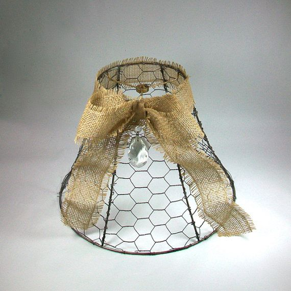 Vintage Chicken Wire Lamp Shade With Burlap Bow Lamp Shades Diy Shades Shabby Chic Lamp Shades