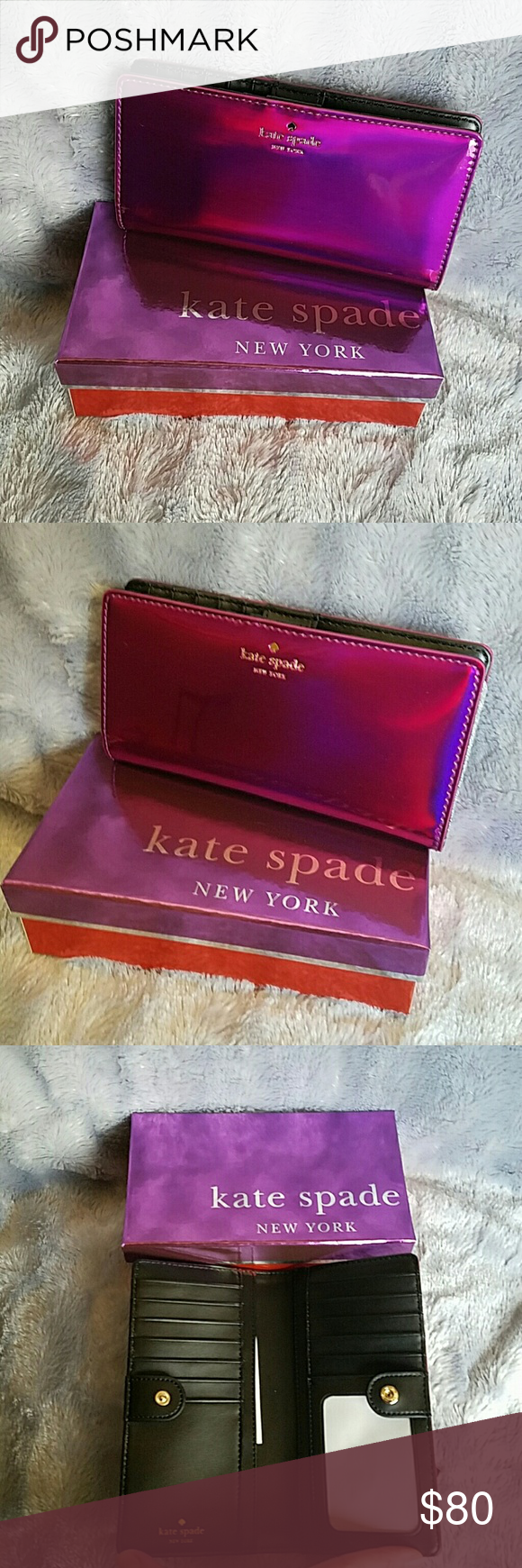 "Kate Spade Iridescent Wallet NWT!! Kate Spade Iridescent Wallet Snap closure  14 karat gold plated hardware  12 credit card slots, one id slot and two billfold 3.5""h x 6.6""w x 0.5""d Kate Spade  Bags Wallets"