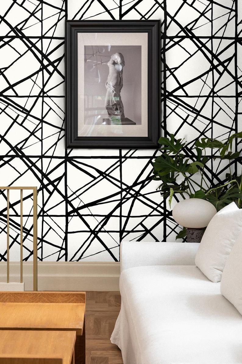 Geometric wallpaper, Striped Wallpaper, inspired Harlequin