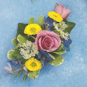 Prom corsage - Pink roses, Yellow mums, Blue delphinium, White Queen Anne's Lace
