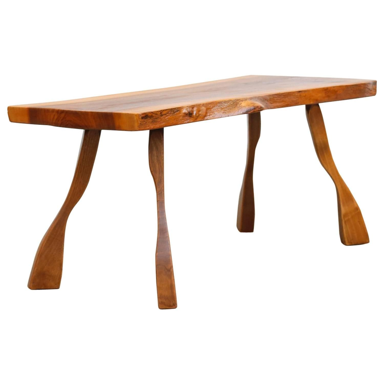 Baby Nakashima Style Wood Plank Occasional Table | From a unique collection of antique and modern tables at https://www.1stdibs.com/furniture/tables/tables/