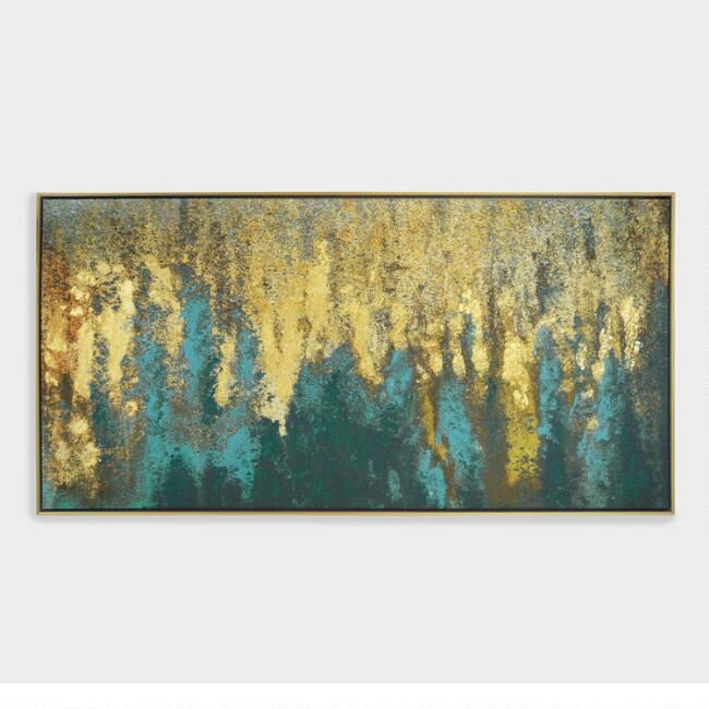 Teal And Gold Woods Wall Art In Gold Frame Sku 57000125 Framed Canvas Wall Art Gold Wall Art Canvas Wall Art