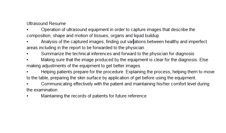 skills to list on resume for student sonographer
