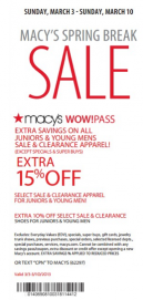 f16b9b331 Macys Printable Summer Sale Coupons- Exclusive Spring Break Sale. Get an  extra 15% off.