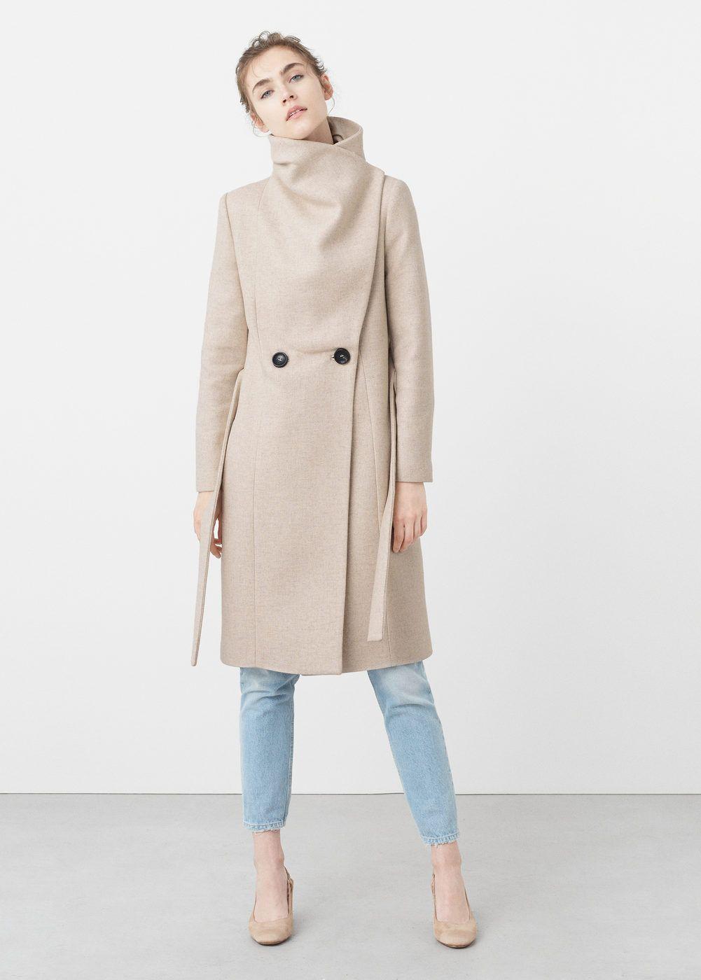 Wollmantel mit breitem revers - Damen. Wide lapel wool-blend coat   MANGO 111459c7c025