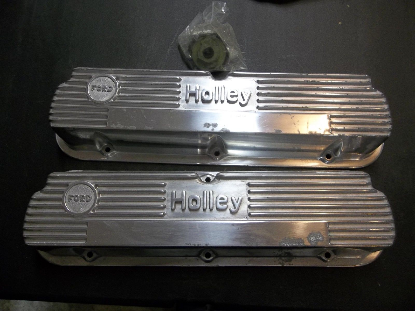Vintage Holley Finned Aluminum Valve Covers Small Block Ford 260