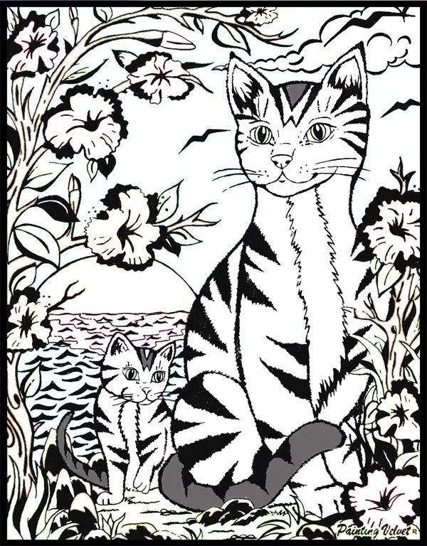 Karton mit Samt zum Ausmalen, Ägyptisches Katzen-Motiv, Filzstifte ...