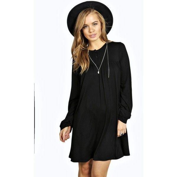 2d95e816fd3b Boohoo Petite Petite Amy Longsleeve Button Detail Swing Babydoll Dress  ( 20) ❤ liked on