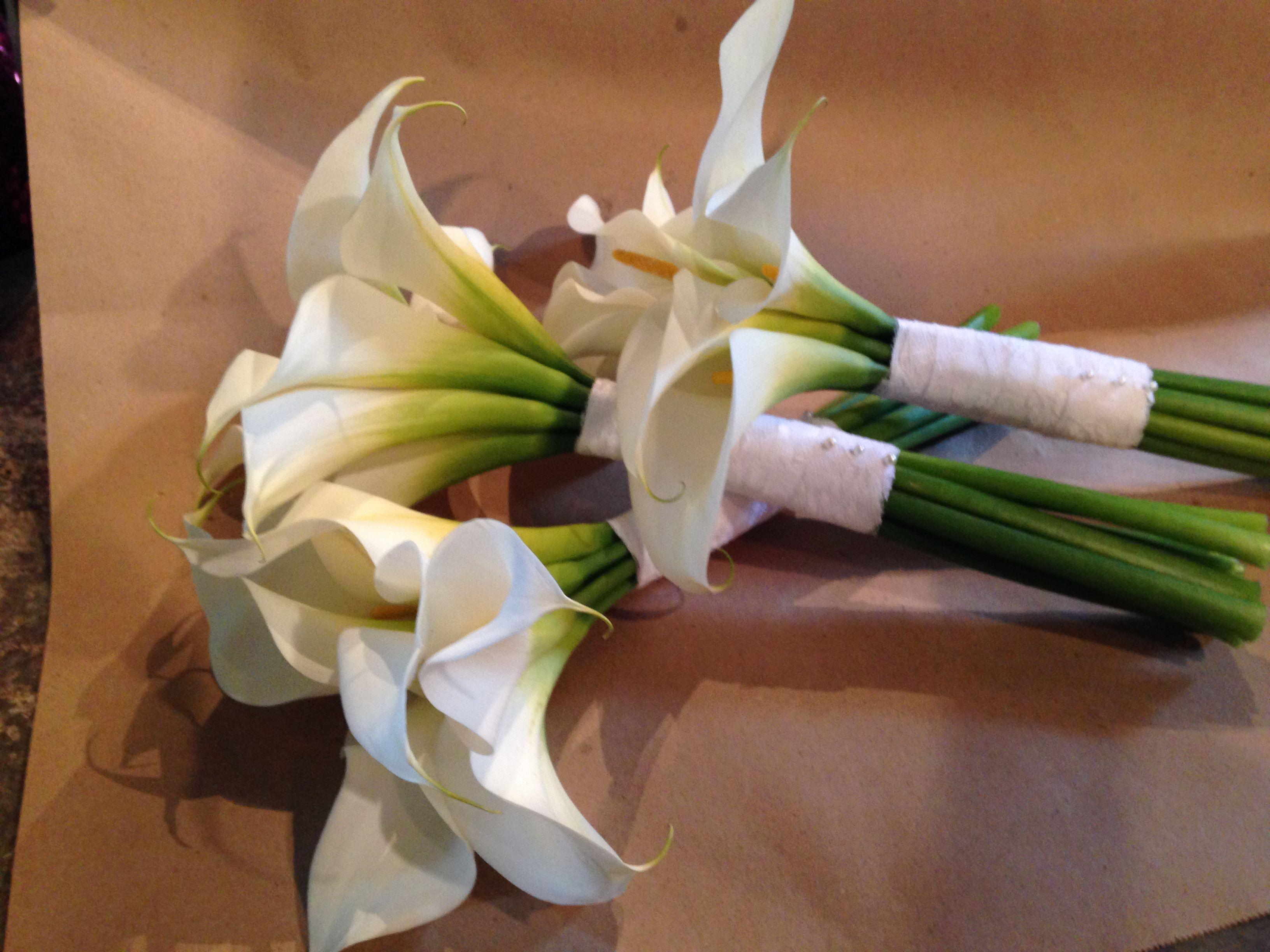 Bridesmaid White Calla lily Bouquets