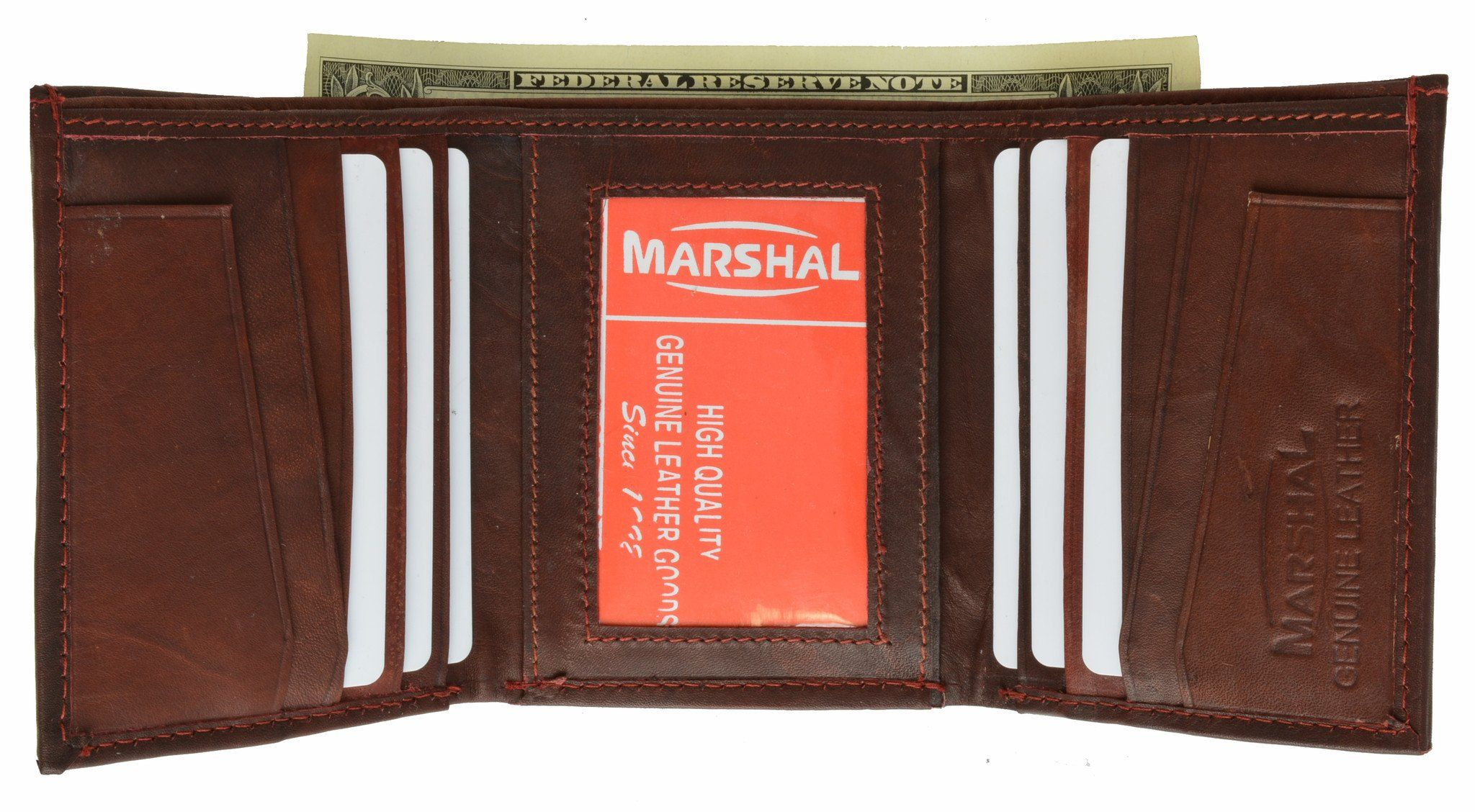 Leather Credit Card /& ID Holder Slim Design Black Men/'s Wallet MARSHAL!!!