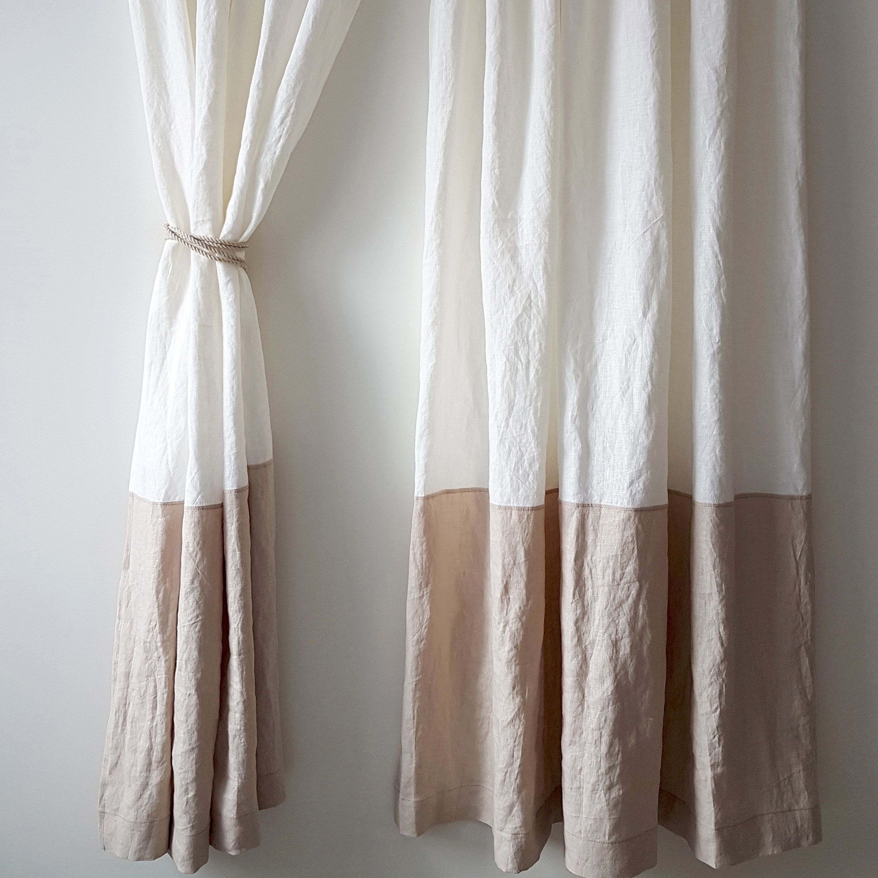 Linen Curtains In Two Colors Shabby Chic Curtains Organic Curtains