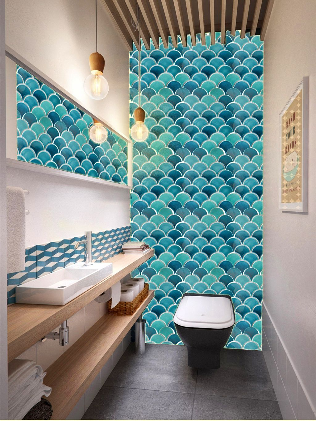 28++ Fish scale tile bathroom ideas