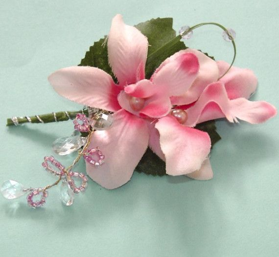 pink and white orchid boutineer pearls mother of bride | Add it to your favorites to revisit it later.
