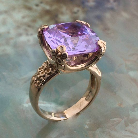 Silver Rings,Solitaire Rings,Long Sterling Silver Ring,Gemstone Ring,Purple Women Ring,Handcrafted 925,Lavender Zircon,Bohemian Jewelry,Gift