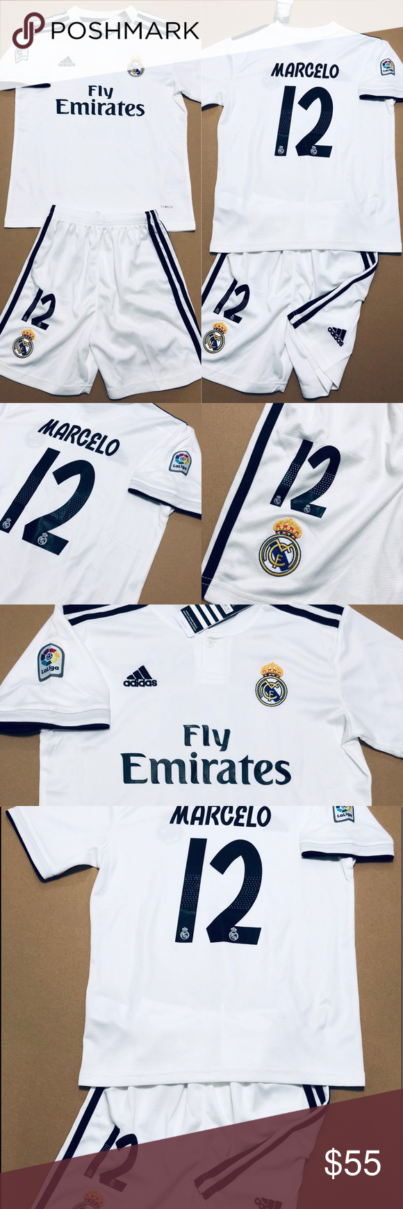 new concept e71d3 3603d ⚽️ Marcelo #12 Real Madrid Soccer Kids Kit Jersey 2018/19 ...