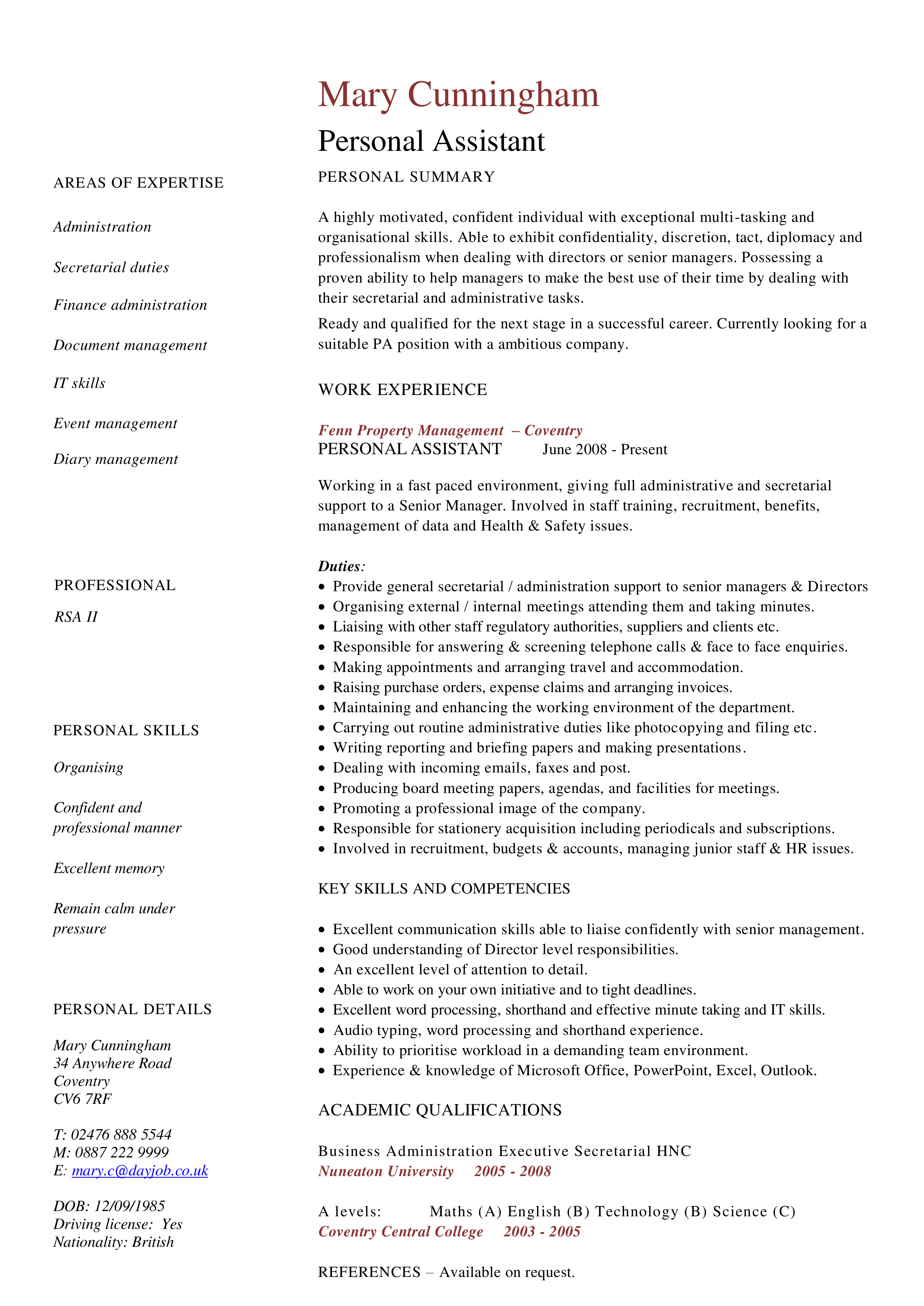 How To Create A Personal Assistant Finance Administration Resume That Will Impress Check Out This Example Of A Finance Admi Finance Jobs Finance Resume Skills