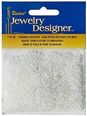 Darice Glass Seed Beads, White Pearl Ceylon, 10/0 Size