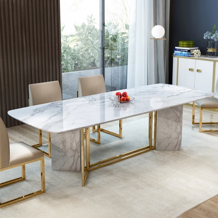 Modern Stylish 63 71 79 White Faux Marble Dining Table Rectangular Table In Brushed Gold Di Dining Table Marble Faux Marble Dining Table Marble Dining