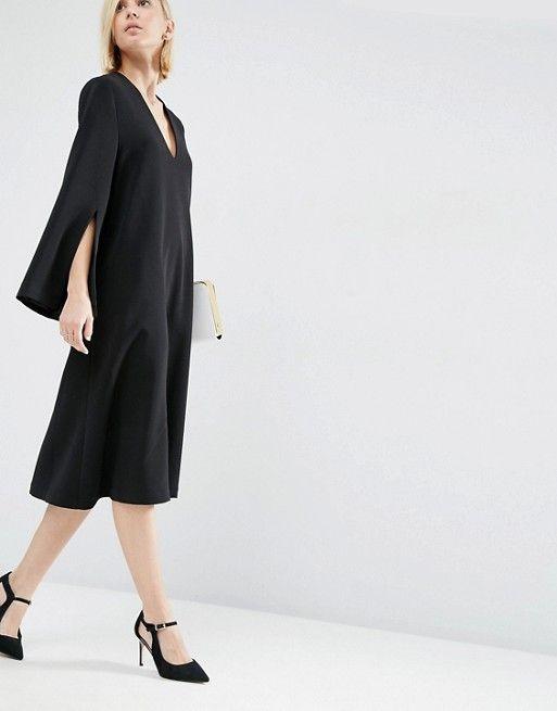 b07fe69fa Compra Vestido a media pierna con cuello cuadrado en V de ASOS WHITE en  ASOS. Descubre la moda online.