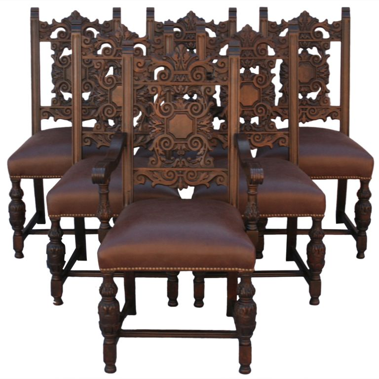Set Of Six 1920s Spanish Revival Chairs