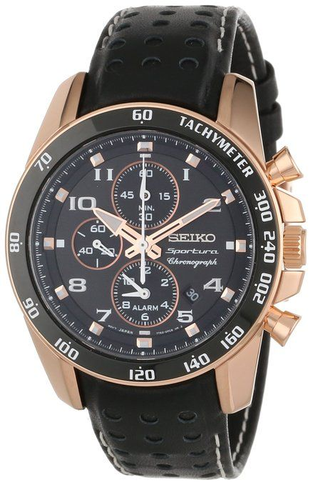 Seiko Men's SNAE80 'Sportura' Rose Gold Ion-Plated Stainless Steel and Black Leather Watch $262
