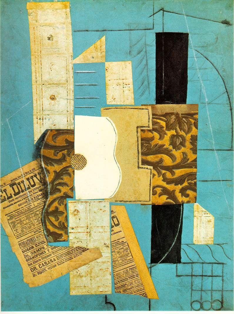*Picasso, Pablo, 'La guitare Ceret', 1913, Papiers colles