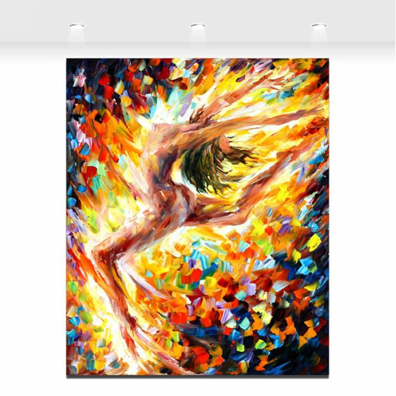 Nude Gymnastics Naked Woman Painting Palette Knife Oil Painting ...
