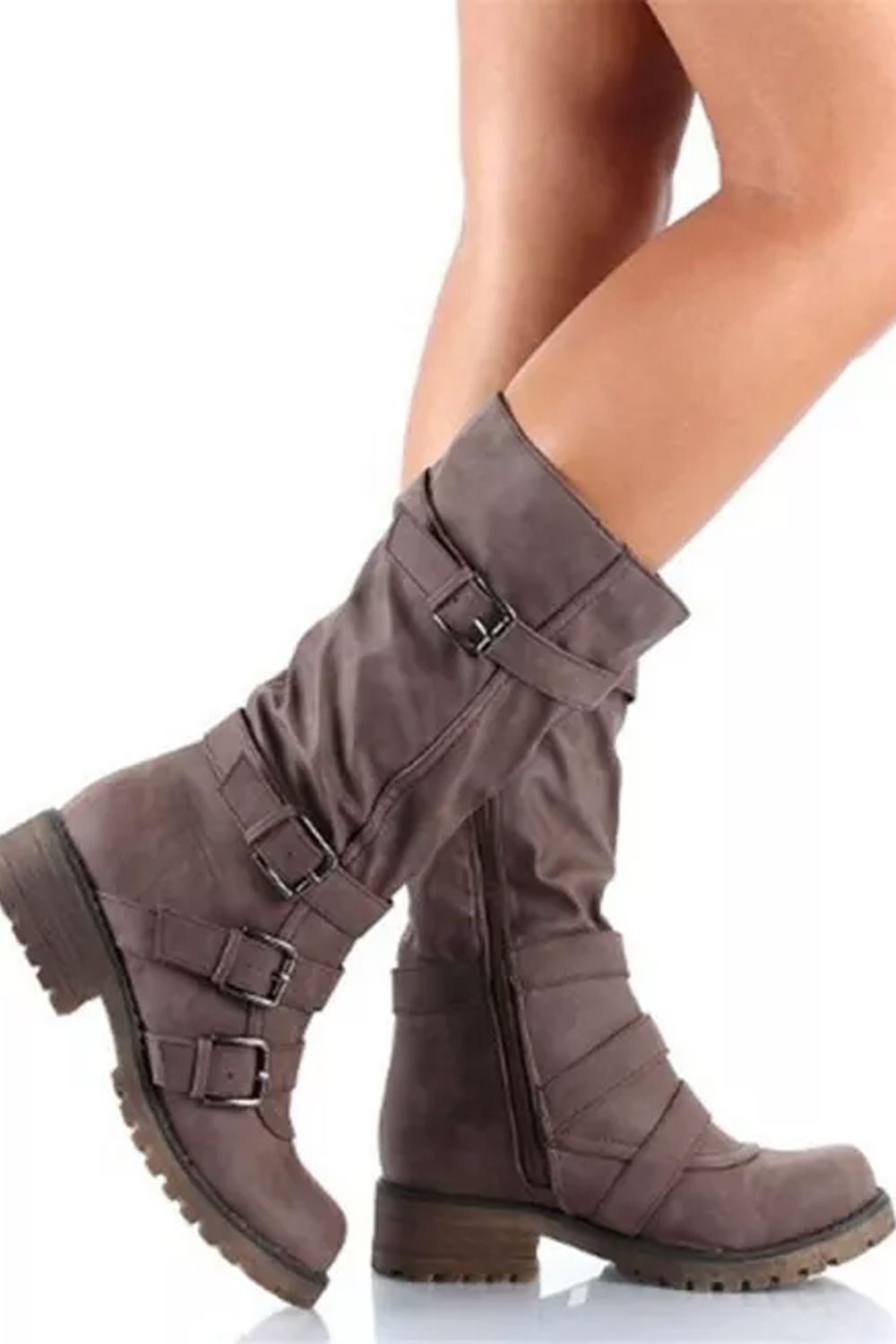 Details about  /Buckle Women/'s Block High Heels Outdoor Casual Combat Party Ankle Boots Shoes