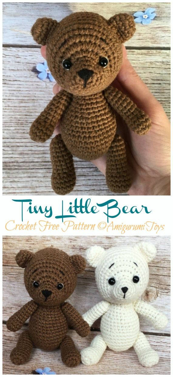 Amigurumi Tiny Bear Crochet Free Pattern - Crochet & Knitting #beartoy