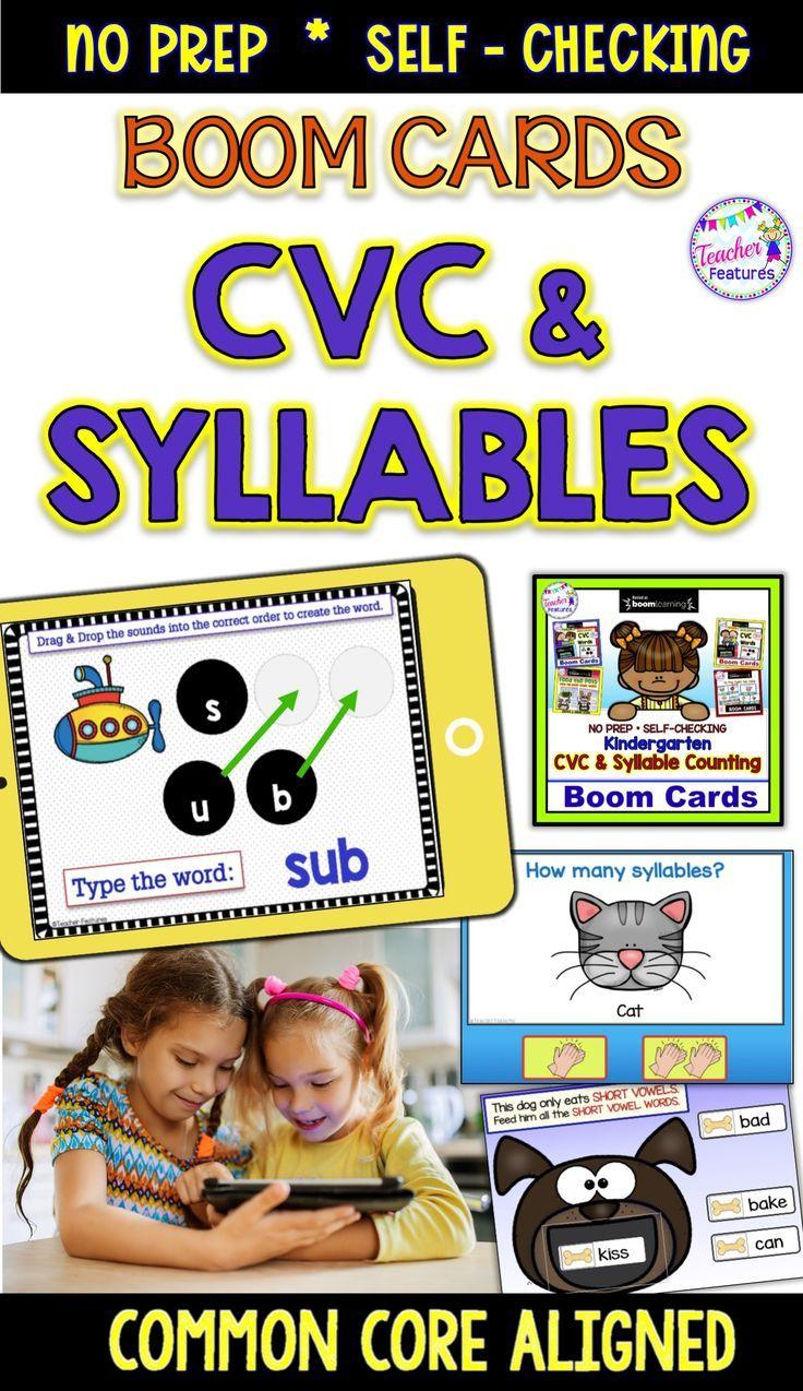 Boom cards distance learning kindergarten cvc words