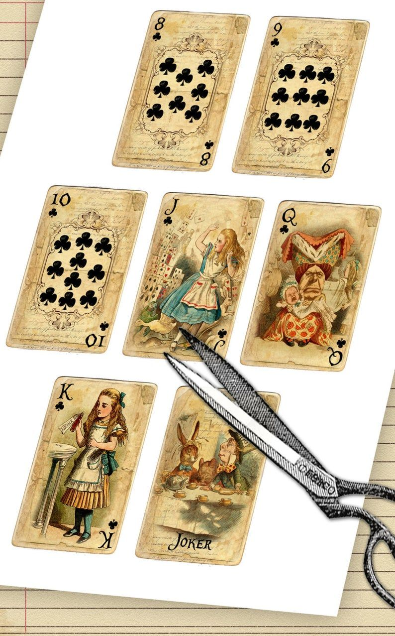 Printable alice in wonderland digital 56 playing cards
